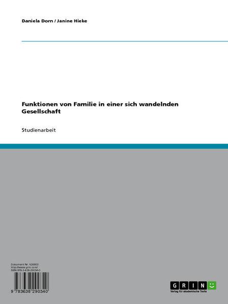 Funktionen von Familie in einer sich wandelnden Ge...