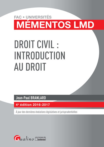 Mémentos LMD – Droit civil : Introduction au droit...