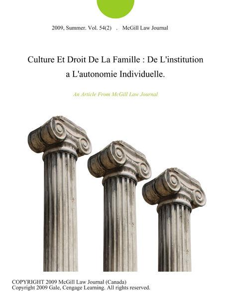 Culture Et Droit De La Famille : De L'institution ...