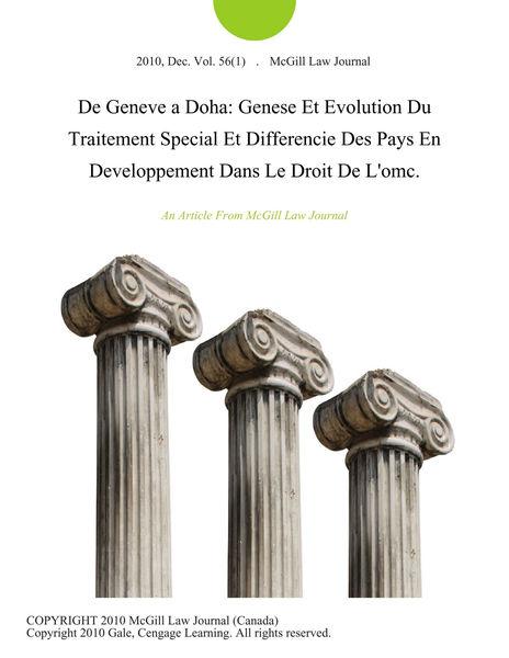 De Geneve a Doha: Genese Et Evolution Du Traitemen...