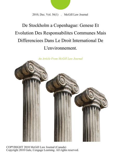 De Stockholm a Copenhague: Genese Et Evolution des...