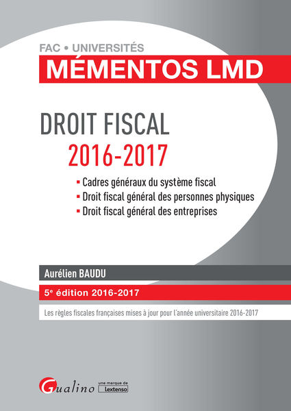 Mémentos LMD - Droit fiscal 2016-2017