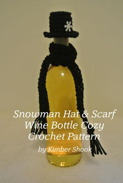 Snowman Hat & Scarf Wine Bottle Cozy Crochet Patte...
