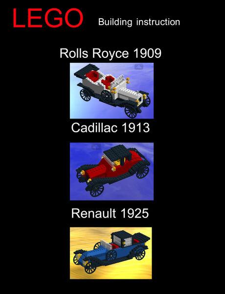 LEGO Rolls Royce 1909, Cadillac 1913 and Renault 1...