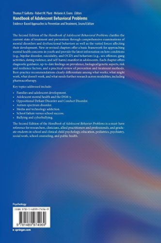 Handbook of Adolescent Behavioral Problems: Evidence-Based Approaches to Prevention and Treatment